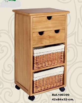Mueble auxiliar madera miel 2 cestas 3 cajones - Cajones de mimbre ...