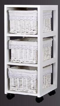 100763 mueble ordenaci n blanco 3 cestas mimbre for Muebles con cestas