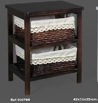 Mueble auxiliar nogal 2 cestas mimbre for Muebles con cestas