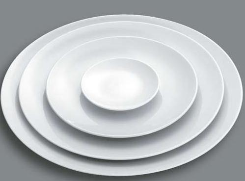 Plato llano 26 cm liso porcelana blanca fina for Platos porcelana blanca