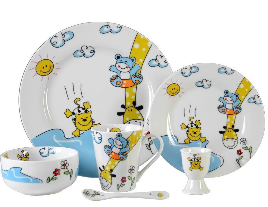 vajilla infantil animales 6 pzas porcelana personalizada
