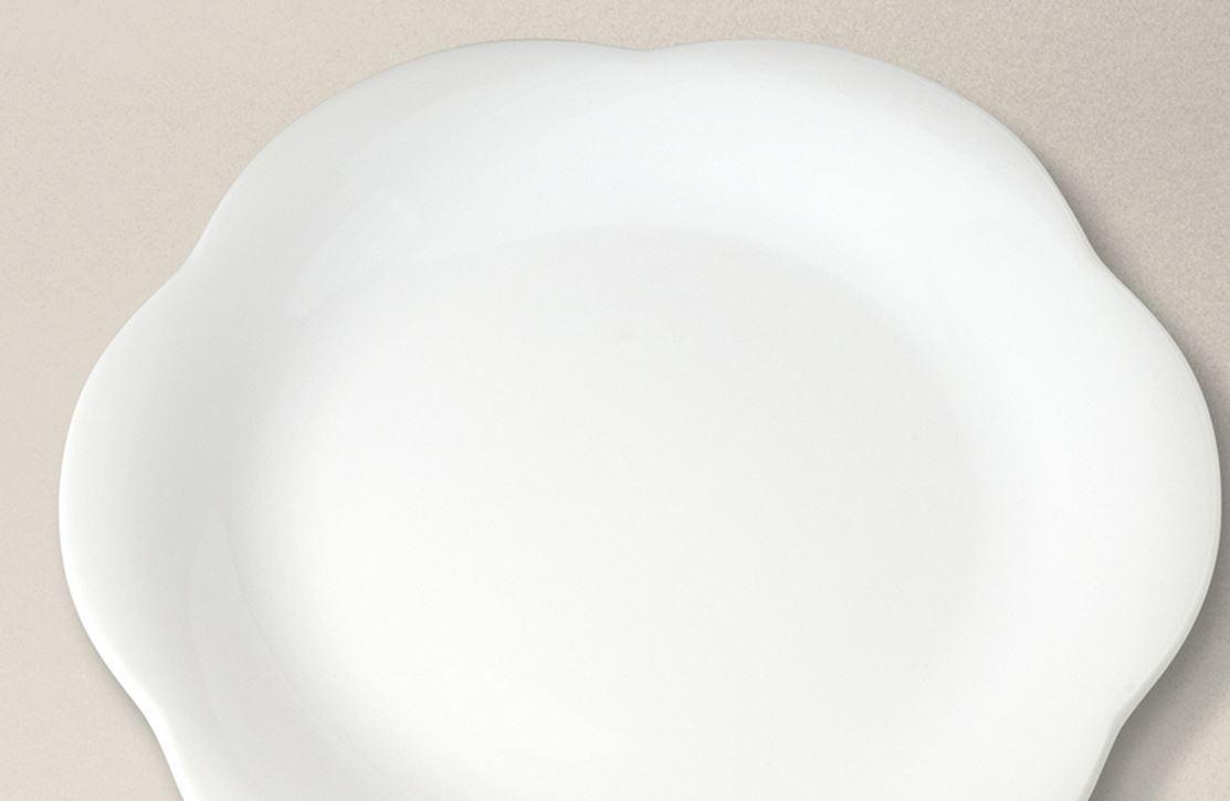 Plato llano 27cm ondas de porcelana blanca for Platos porcelana blanca