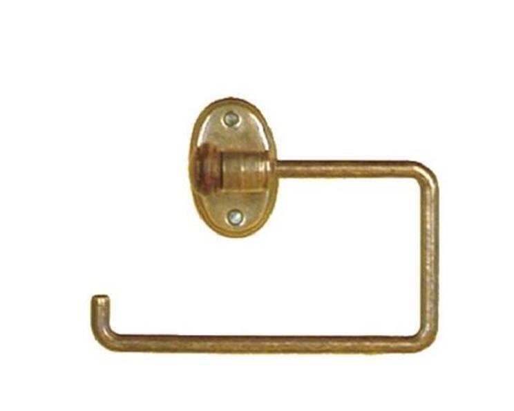 Portarrollos abierto dorado envejecido y madera oscura for Accesorios bano dorados