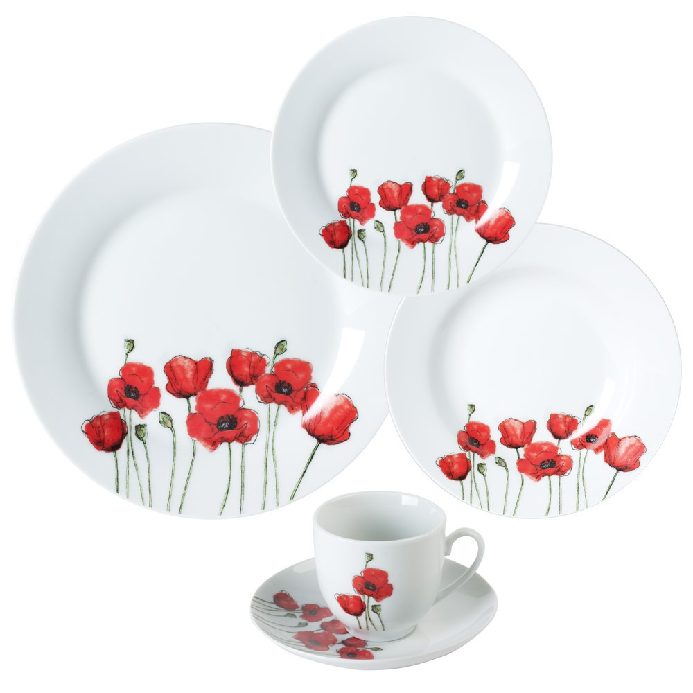 Vajilla porcelana 30 pzas amapola roja for Vajilla porcelana