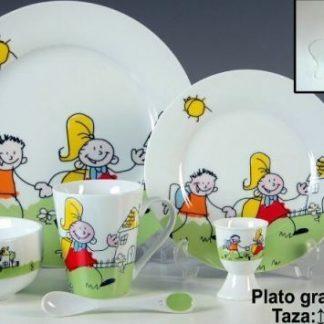 Vajilla infantil porcelana 6 pzas ni os personalizada for Vajilla bebe personalizada