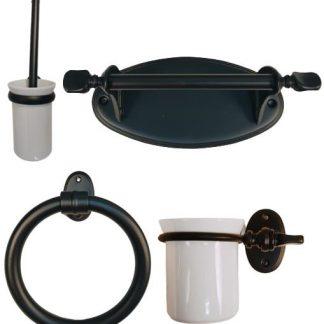 Accesorios de baño latón negro mate y blanco roto